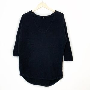 Express Knit High Low V Neck Black Sweater